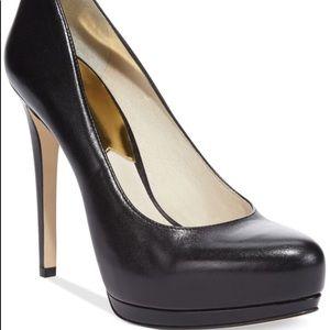 Michael Kors Hamilton Black Leather Platform Heels